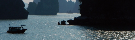 Karst Rock Formations Jutting Up Out of the Blue-green Waters of Halong Bay, Vietnam