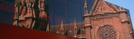 Cordoba gothic cathedral reflected in modern art gallery
