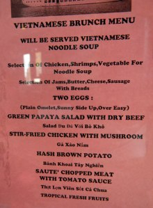 Halong Bay Cruise Brunch Menu