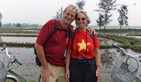 Al & I on our Bicycling Tour of Hoi An's Market Gardens