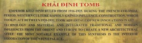 Emperor Khai Dinh Tomb Plaque (in Hue)