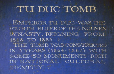 Sign at the Tomb of the Emperor Tu Duc