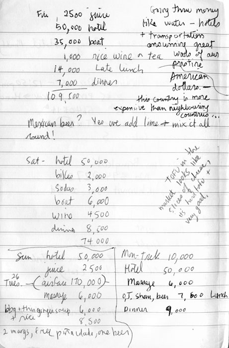 Diary: calculations of money spent at Inle Lake in Myanmar