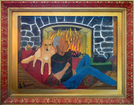 Dad's painting of Rocky, Twinkle and him in front of the fire