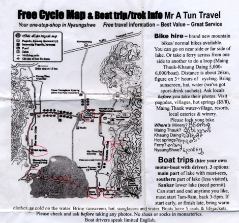 Inle Lake bike tour map