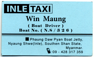 Mr Win's Business Card for Boat Trips down Inle Lake