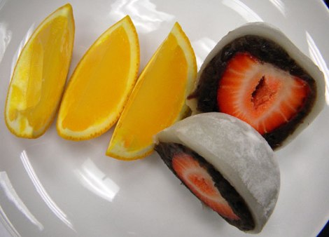 Orange filled with Agar Jelly and Strawberry Mochi