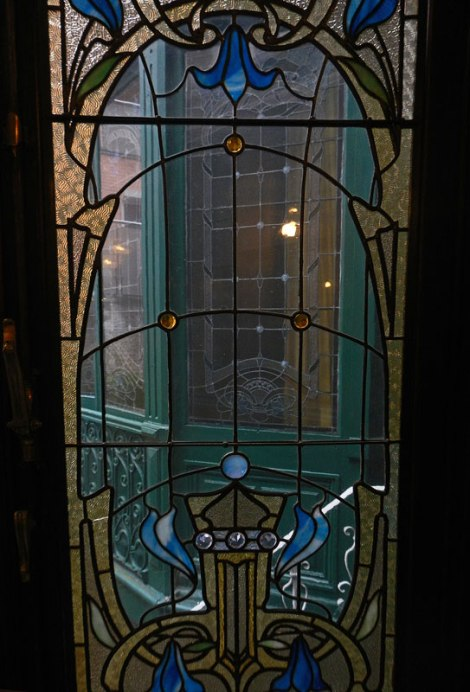 Arte Nouveau Stained Glass Window at the Rubenshof Hotel in Antwerp
