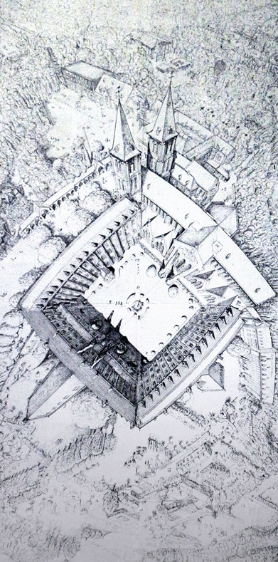 Drawing of the Abbaye at Maredsous