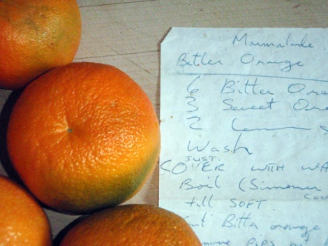 making Scottish marmalade with Seville oranges