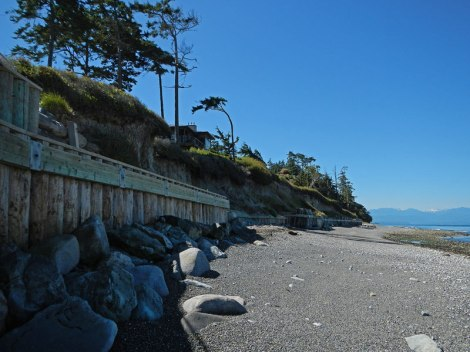 reinforced embankments on the public part of the beach below Fort Ebey