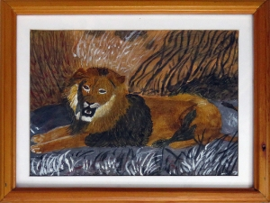 "Dad's Painting Lion: ""Hi Dad"""