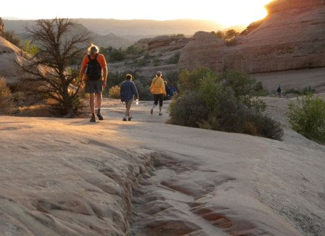 Leaving Delicate Arch before it gets too dark