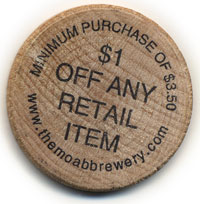 wooden nickel, Moab Brewery
