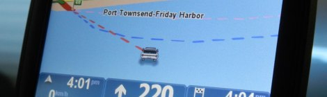 Our GPS shows us out water while on the ferry to Port Townsend
