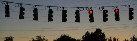 Port Townsend Traffic Lights at Night