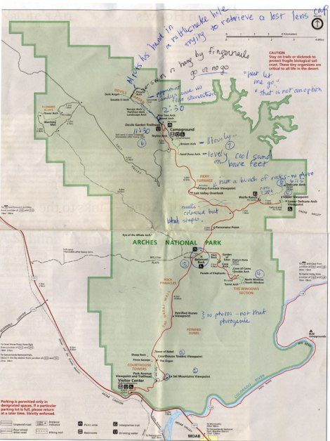 Annotated Arches National Park Map