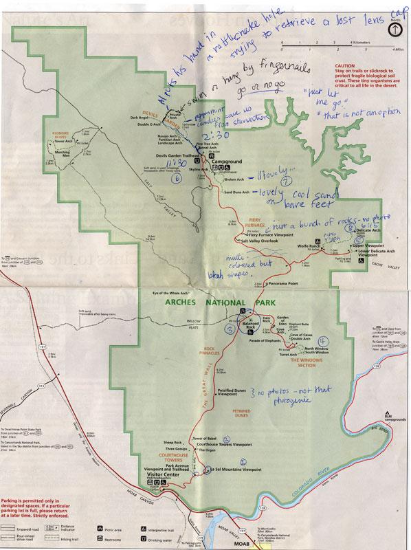 Annotated Arches National Park Map   Albatz Travel Adventures