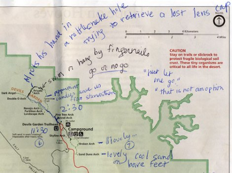 Arches National Park map, showing Devil's Garden