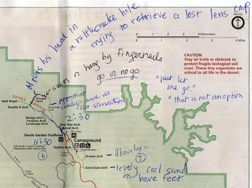 Arches National Park map, showing Devil\'s Garden   Albatz ...