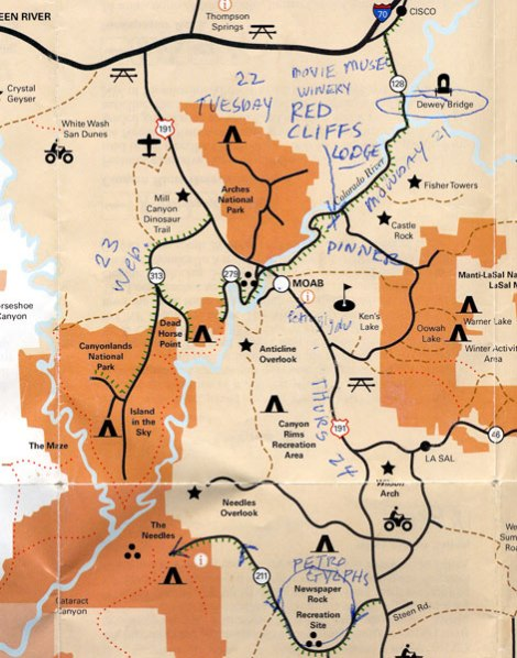 Map of Canyonlands National Park