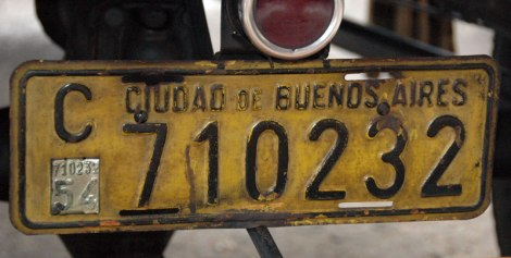 license plate from Buenos Aires