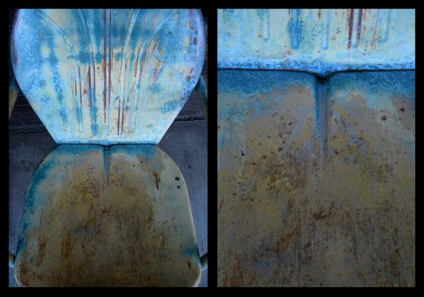blue rusty chair in Moab