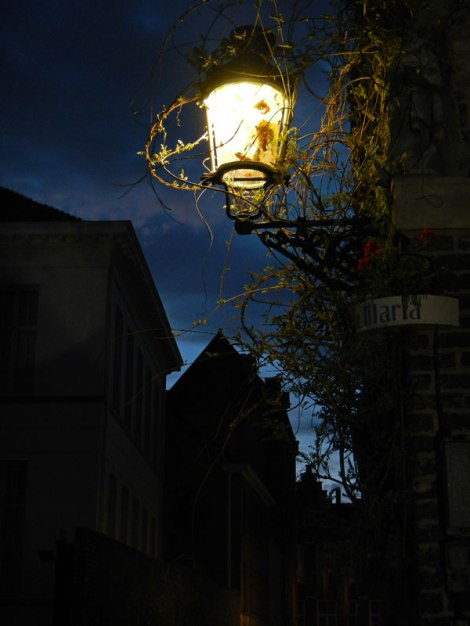 A City Lamp in Bruges by Night