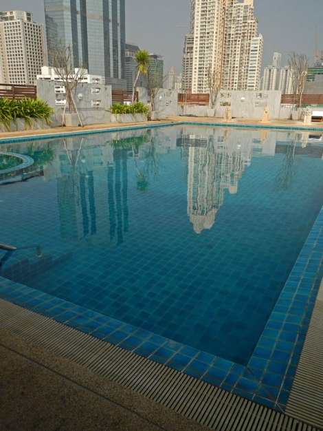 The roof-top pool at the Sathorn Grace