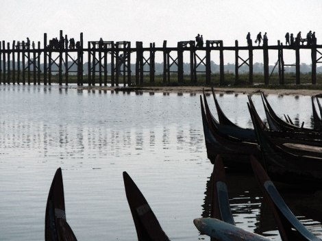 U Bein Bridge with boats