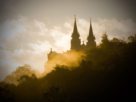 Cathedral at Covadonga in the early morning mist