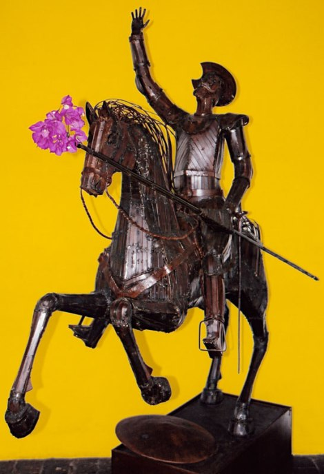 pink buganbilla on a statue of Don Quixote
