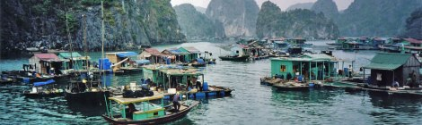 Floating fishing village just off the island of Cat Ba in Vietnam