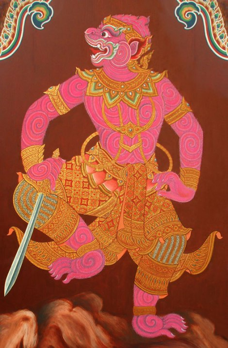 Pink Monkey God on a Bangkok Temple