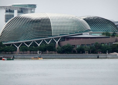 The 'Durian' Arts Center, one of the many interesting architectural features on Singapore's Harbour