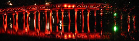 Hanoi's Red Bridge at Night
