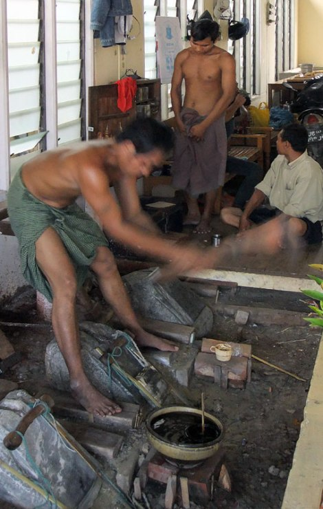 The Gold-Pounders' Workshop in Mandalay