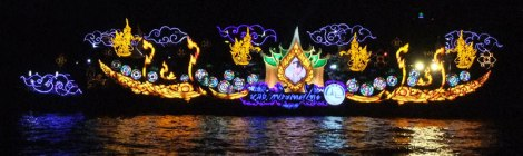 Illuminated Boat in Bangkok's Loi Krathong Festival
