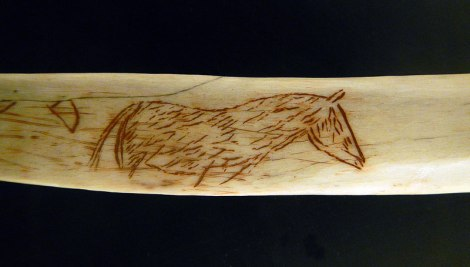 Horse Inscribed on Bone in the Museo de las Cuevas Tito Bustillo