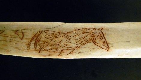 Horse Inscribed on Bone in the Museo de las Cuevas Tito Bustillo