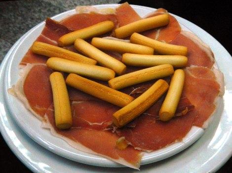 Racion of Serrano Ham and Breadsticks