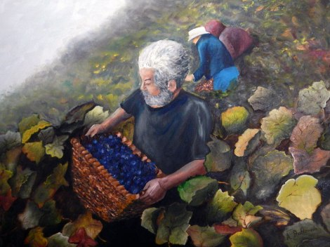 mural of picking grapes on the steep terraces along the River Sil