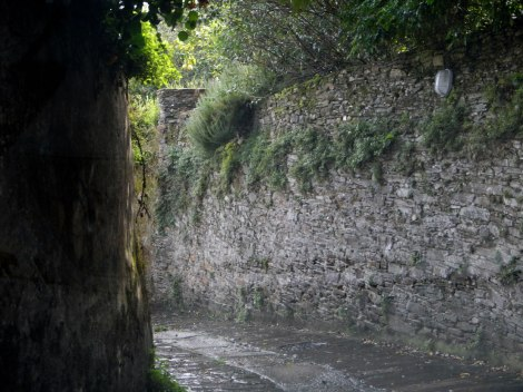 One of the narrow roads leading to the city centre.