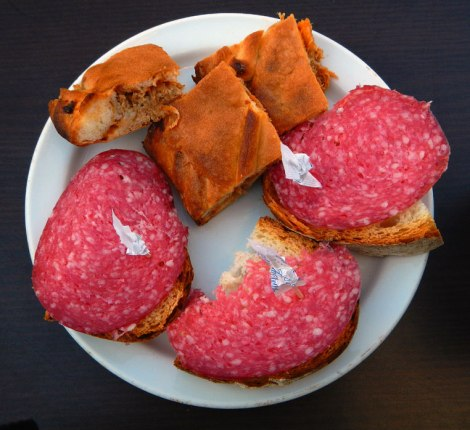 Pre-lunch Snack of Salami and Empanadas