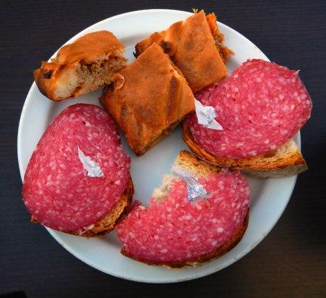 Pre-lunch Snack of Salami and Empanadas