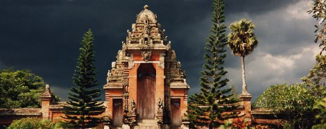 Bali Temple with a Storm Brewing in the Background