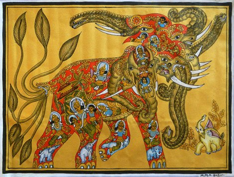 At a Bagan Temple I bought a painting of an elephant