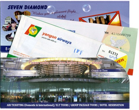 Yangon Airlines Paper Ticket