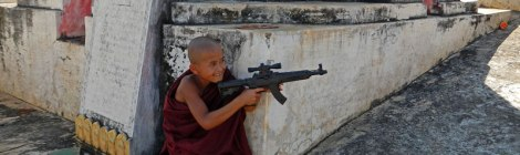 Inle Lake Temple: Child Monk with Gun