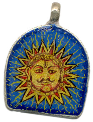The Sun Prince in Udaipur, a Pendant with a Painted Minature by Lala